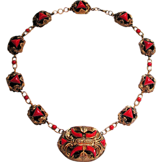 SALE 1920s Signed Czech Deco Red Art Glass Asian Necklace