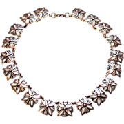 J Flores Taxco Rare 1940s Mexican Sterling Silver Link Necklace