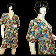 Vintage Albert Nipon Silk Floral Dress Bergdorf Goodman S/M