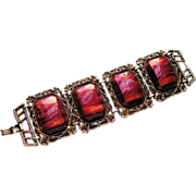 1960s Unsigned Selro Wide Chunky Maroon Thermoset Link Bracelet