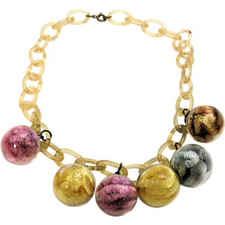 SALE 1940s Rare Glass Ball Necklace Celluloid Chain Pipecleaners