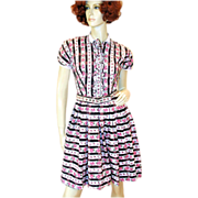 50s Pink Roses Striped Cotton Dress Adrian Tabin S/XS Petite
