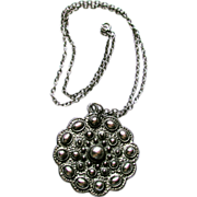 1960s Modernist Silvertone Scupltural Pendant Necklace