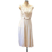 1960s Ivory Rayon Crepe Sequin Cocktail Dress, Daytime Wedding, XS