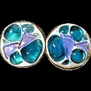K Denning Round Earrings Blue Lavender Glass Enamel Over Copper