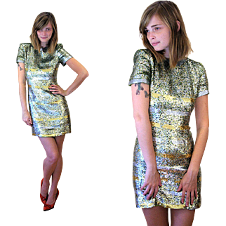 SALE 1980s Couture Neil Bieff Green Sequin Dress XS