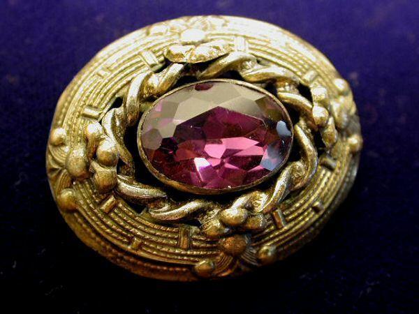 Vintage Brooch Amethyst Glass Stone Art Nouveau
