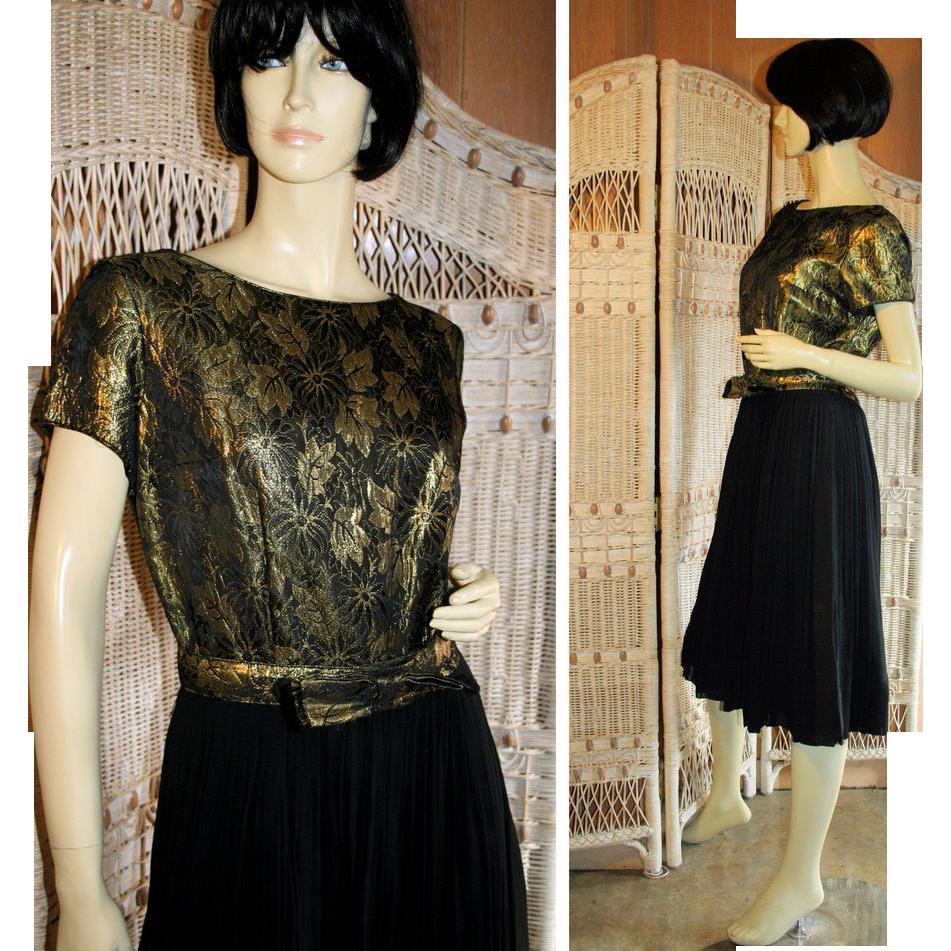 Opulent 60s Metallic Gold Brocade and Black Chiffon Cocktail Dress M