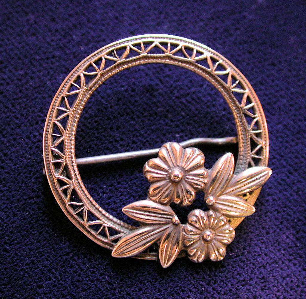 40's Symmetalic Sterling 14K Gold Flower Brooch W.E. Richards
