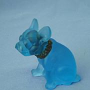 "ice blue glass French Bulldog 3"""