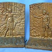 art deco bronze cast iron Judd bookends Diana Borzoi