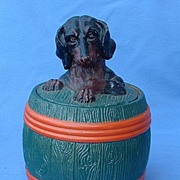 rare  early 1890 JM 3495 Austria Dachshund humidor tobacco jar