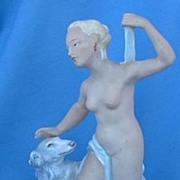 "1920s art deco nude & Borzoi Germany 8"""