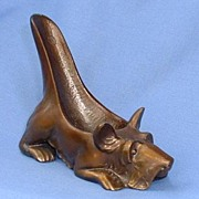 """1940s Ronson bronze detailed Scotty pipe rest 5"""""""