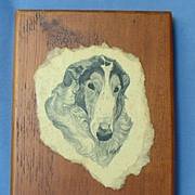 "nice wood Borzoi plaque 7"""
