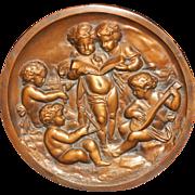 Vintage Bronze Plaque With Five Cherub or Putti Musicians
