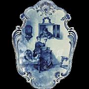 "Antique Artist SIgned Joost Thooft Labouchere Delft Plaque 22"""