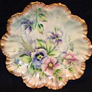 Hand Painted LImoges Pansies Plate