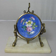 French Gilded Brass and Porcelain Pocket Watch Holder with Alabaster Base