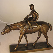 Metal Horse and Rider Figure with Bronze Patina