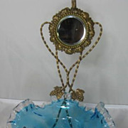 French Gilt Brass Pocket Watch Holder with  a Blue to Clear Glass Bowl