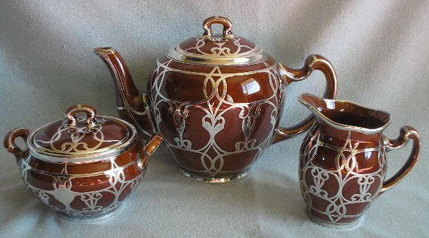 Lenox Silver Overlay Tea Set - 3 Pieces