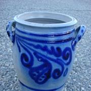 French Antique Salt Glaze Cobalt Jar Antique Vase