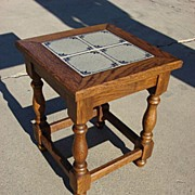 Vintage Dutch Tile Top Side Table Lamp Table Stand