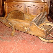 French Antique Garden Cart Wheelbarrow Wagon Wheel