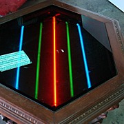 Vintage American Walnut Coffee Table Side Table With Neon Lights