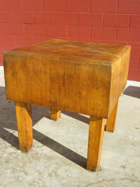 American Antique Butchers Block Chopping Block Cutting Board Antique Kitchen Counter