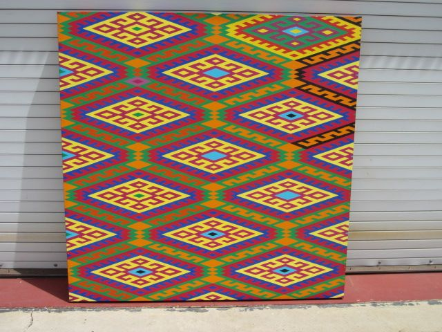 """Large Oil on Canvas By James """"Jim"""" Andrew Nussbaum Abstract Huichol Art"""