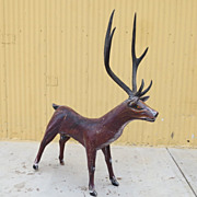 American Folk Art Primitive Carved Statue Large Deer Elk Carving