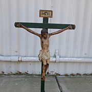 Italian Antique Hand Carved Crucifix