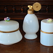 3 Pieces of French Opaline Dresser Jar Casket Perfume Scent Bottle Atomizer Signed