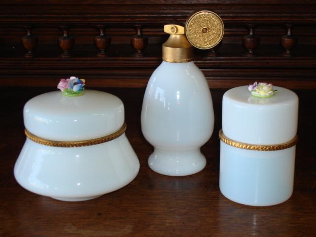 3 Pieces of French Opaline Dresser Jar Casket Perfume Scent Bottle Atomizer Signed