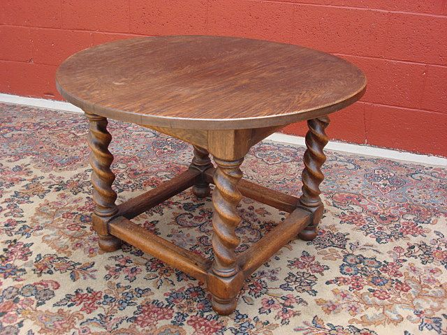 Antique Furniture French Antique Barley Twist Round Table Coffee Table Side Table Lamp Table