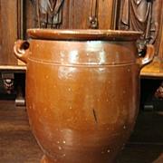 French Antique Salt Glazed Pot Stoneware Earth Ware Pot vase