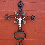 French Antique Cast Iron Crucifix Antique Cross