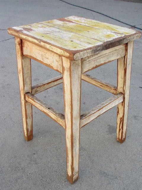 French Antique primitive Farm Stool Antique Bench Chair Antique Furniture