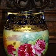 Beautiful Original Antique Nippon Hand Painted Vase Rare Rose Floral Design
