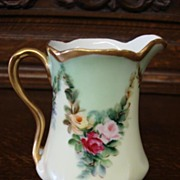 Beautiful Hand Painted Porcelain J&C Louise Bavaria Pitcher ~ Floral Green Yellow and Gold
