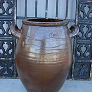 French Antique Large Salt Glaze Pot Planter Vase Original Stoneware
