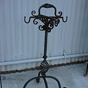 Spanish Antique Hand Forged Iron Stand With Hooks