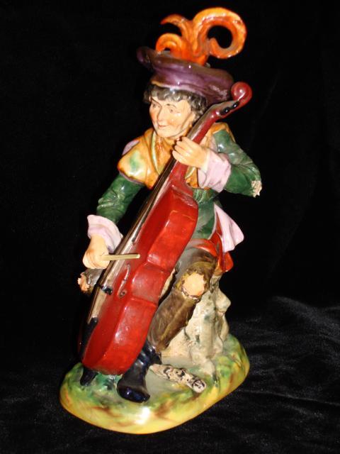 Beautiful Original Dresden Violin Player Figurine Statue