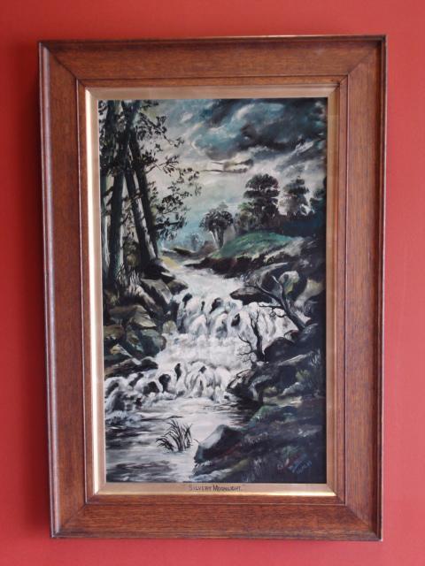 "Original Oil on Canvas Robert Reuben Clark Wood (W.Wood) Dated 1913 ""Silvery Moonlight"""