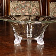 Beautiful Large Glass Fruit Bowl Compote on Decorated Feet