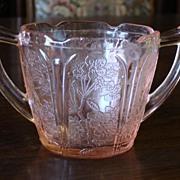 Pink Depression Cherry Blossom Glass Sugar Bowl Sugar Cup