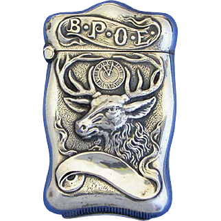 BPOE motif sterling match safe; Benevolent and Protective Order of Elks