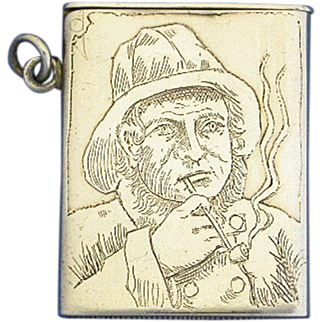 Seaman smoking pipe motif match safe, sterling, by Fairchild & Co., c. 1895